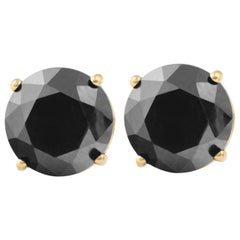 3.84 Carat Total Round Black Diamond Solitaire Stud Earrings in 14 K Yellow Gold
