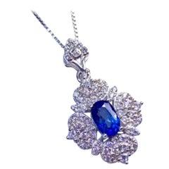 Blue Sapphire Necklace Platinum Plated