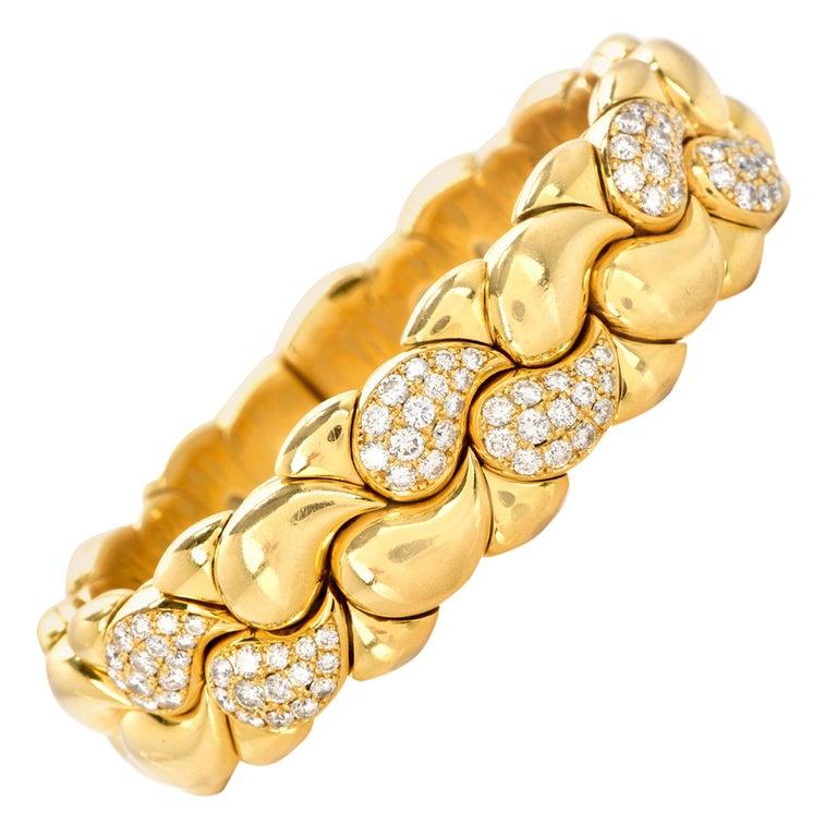 Chopard Casmir Diamond 18K Gold Braided Designer Cuff Bangle For Sale