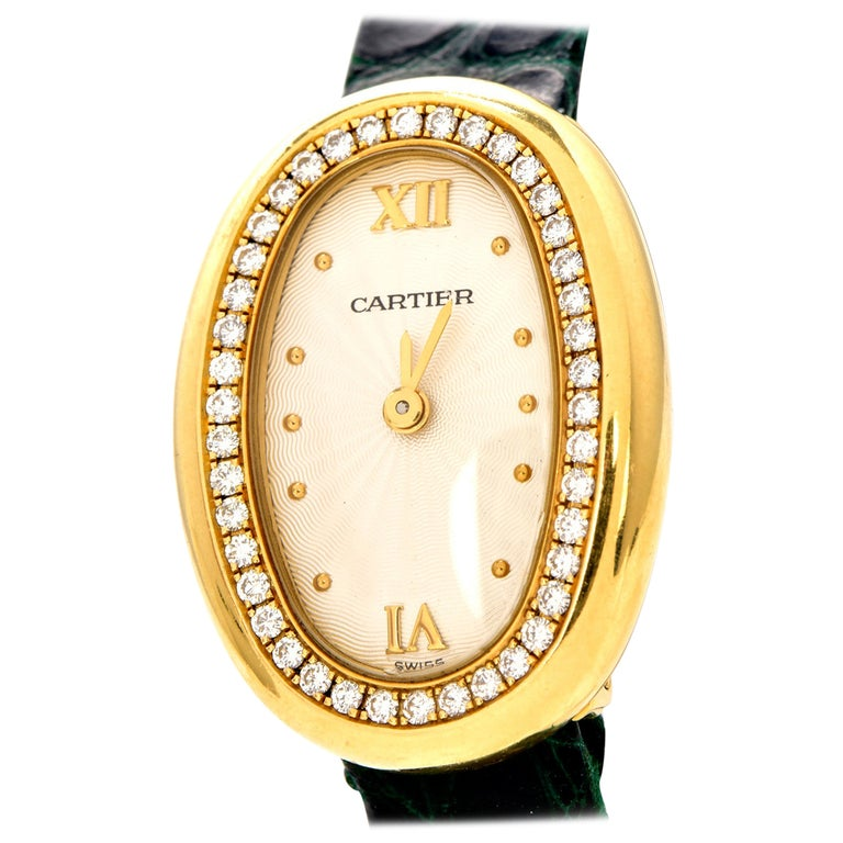 Cartier Montre Baignoire Diamond 18K Gold Vintage Ladies Watch For Sale