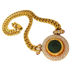 Byzantine Ancient Coin 6.00ct Diamonds Cuban Link Necklace 18kt