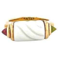 Bvlgari Ceramic Tourmaline Tronchetto Ring