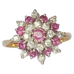 Vintage Ruby and Diamond 18 Carat Gold Cluster Ring