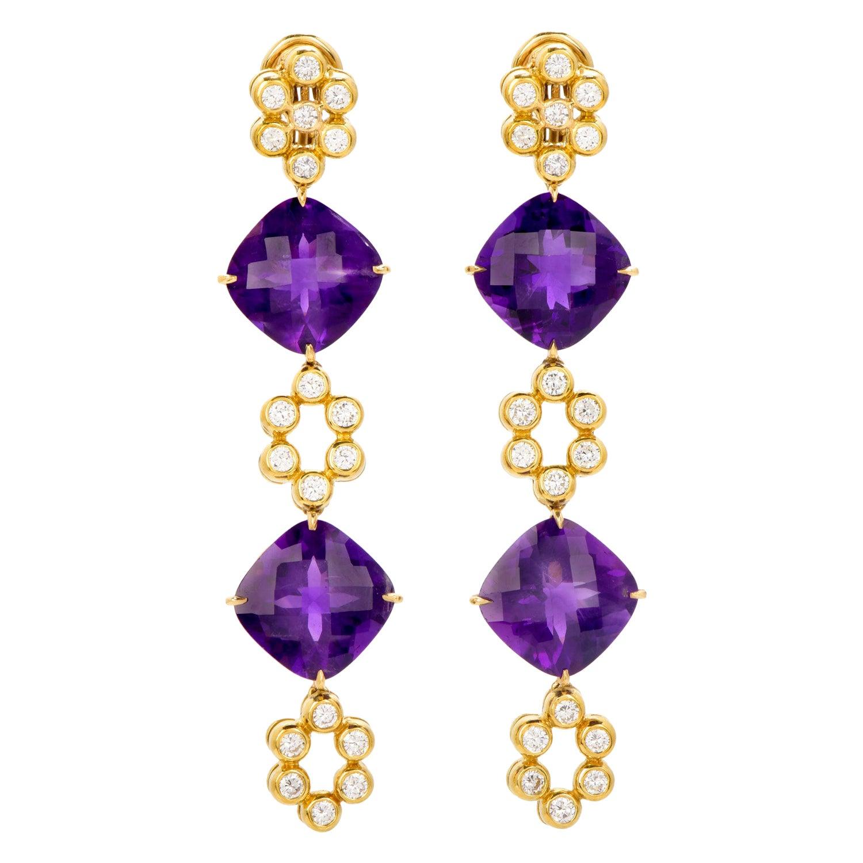 Modern Diamond Amethyst 18K Gold Dangle Drop Floral Earrings