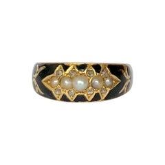 Edwardian Black Enamel, Diamond and Pearl 9 Carat Gold Mourning Ring