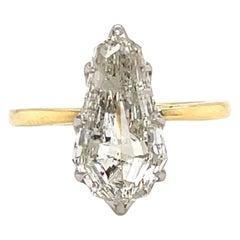 GIA 3.58 Carat Shield Cut Diamond Solitaire Ring