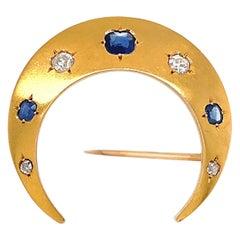 Antique French AGL Sapphire Diamond Crescent Brooch