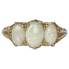 Art Deco Opal and 9 Carat Gold Three-Stone Ring
