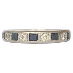 Art Deco Sapphire Diamond 18 Carat Gold Half Eternity Band