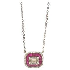 Ruby & Baguette Diamond Pendant Necklace