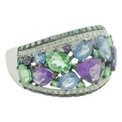 Ring of Many Colors Amethyst, Sapphire, Tourmaline and Diamonds