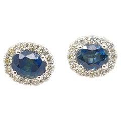 White Gold Oval Sapphire & Diamond Stud Earrings