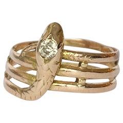 Edwardian Diamond and 9 Carat Gold Snake Ring