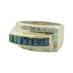 Retro Sapphire and Diamond Ring in Yellow Gold