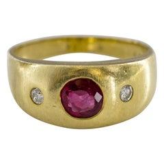 Ruby & Diamond Midcentury Ring Certified