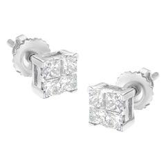 10K White Gold Princess-Cut Diamond 4 Stone Composite Quad Stud Earrings