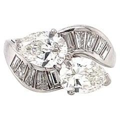 Retro GIA Toi et Moi Diamond Platinum Ring