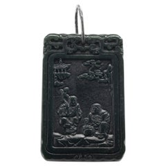 Antique Carved Black Nephrite Jade Tablet Qing Dynasty Period Untreated