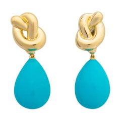 Angela Cummings Gold and Turquoise Drop Earrings