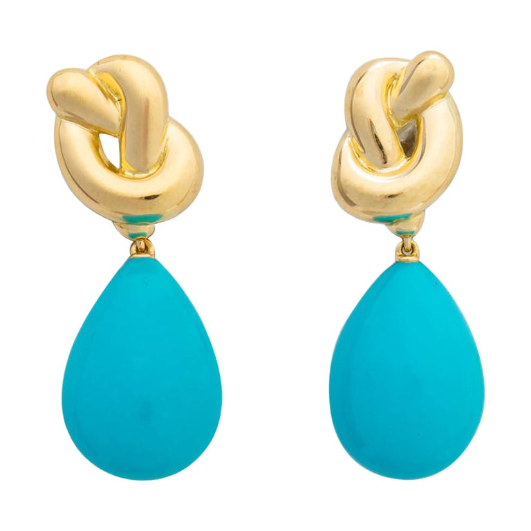 Angela Cummings Gold and Turquoise Drop Earrings For Sale