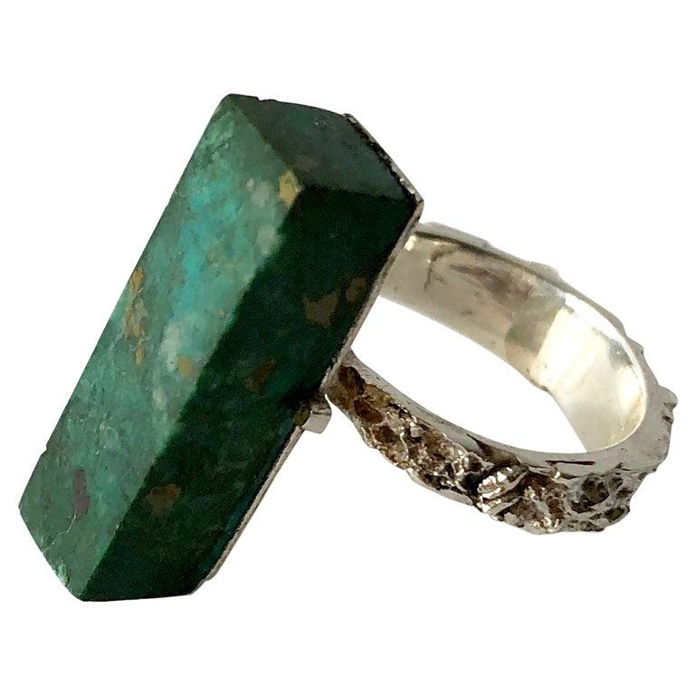 Graziella Laffi Sterling Silver Malachite Peruvian Modernist Handmade Ring For Sale