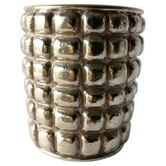 Graziella Laffi Sterling Silver Peruvian Modern Repousse Handmade Cuff Bracelet