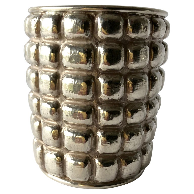 Graziella Laffi Sterling Silver Peruvian Modern Repousse Handmade Cuff Bracelet For Sale