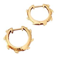 Pair of 18ct Yellow Gold Crocodile Tail Huggies Hoop Earrings