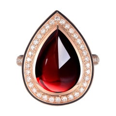 Pear Cabochon Red Garnet Diamond Enamel Ring