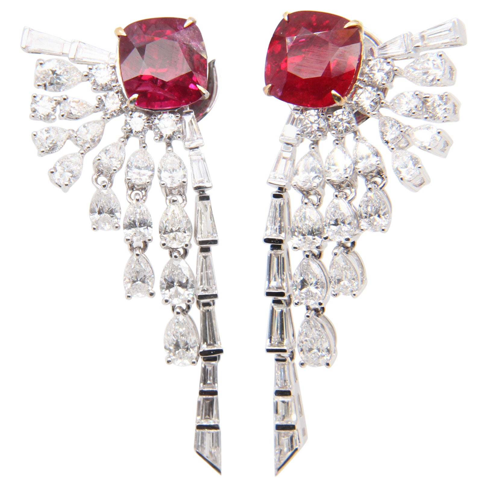 GRS Certified 5 ct Burmese 'Pigeon Blood' Ruby and Diamond Earring in 18K Gold