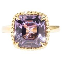4.86 Carat Asscher Cut Purple Spinel 18 Carat Yellow Gold Vintage Cluster Ring