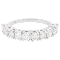 Round Diamonds Half Eternity Band Ring 1.43 Carats Total 18K White Gold