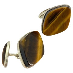Silver Cufflinks, Finland, Tiger Eye Stone