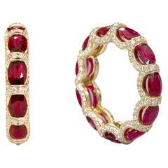 18 Karat Yellow Gold 6.40 Carat Ruby and Diamond Eternity Band Ring