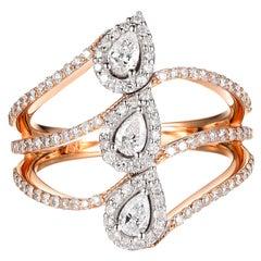 Rose Gold Pear Diamond Ring