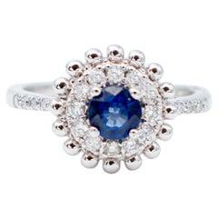 Blue Sapphire, Diamonds, 18 Karat White Gold Engagement/Solitaire Ring