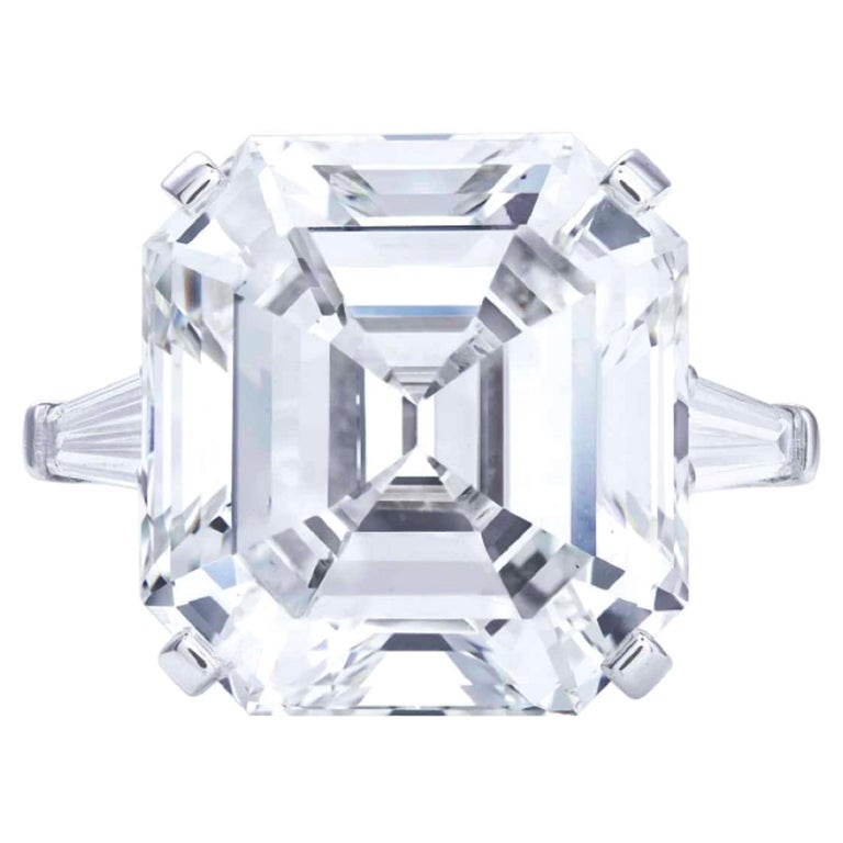 Type 2A Exceptional GIA 10 Certified 10 Carat Asscher Cut Diamond Ring For Sale