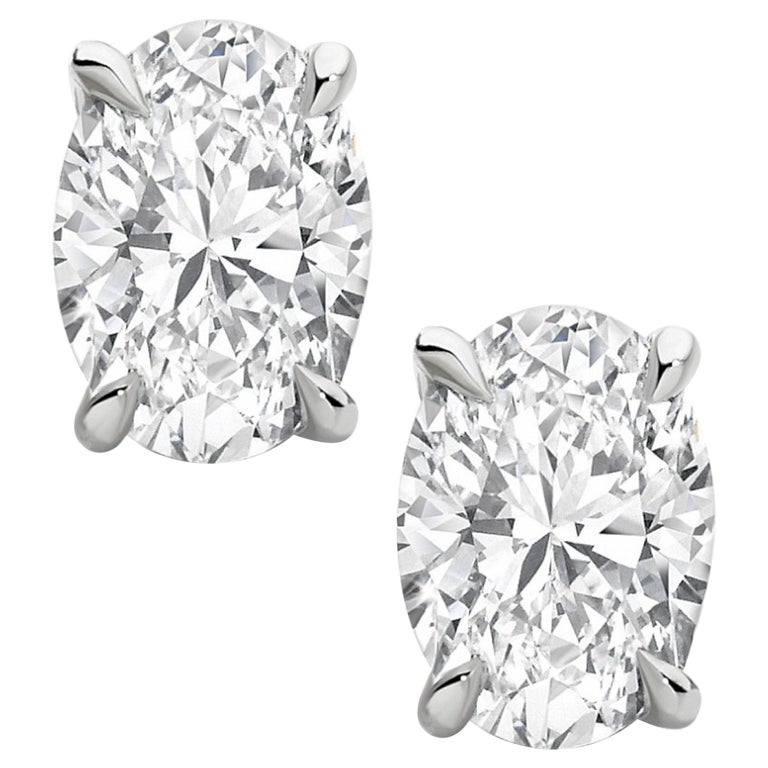 Exceptional Type 2A and Flawless GIA Certified 4 Carat Oval Cut Diamond Studs For Sale