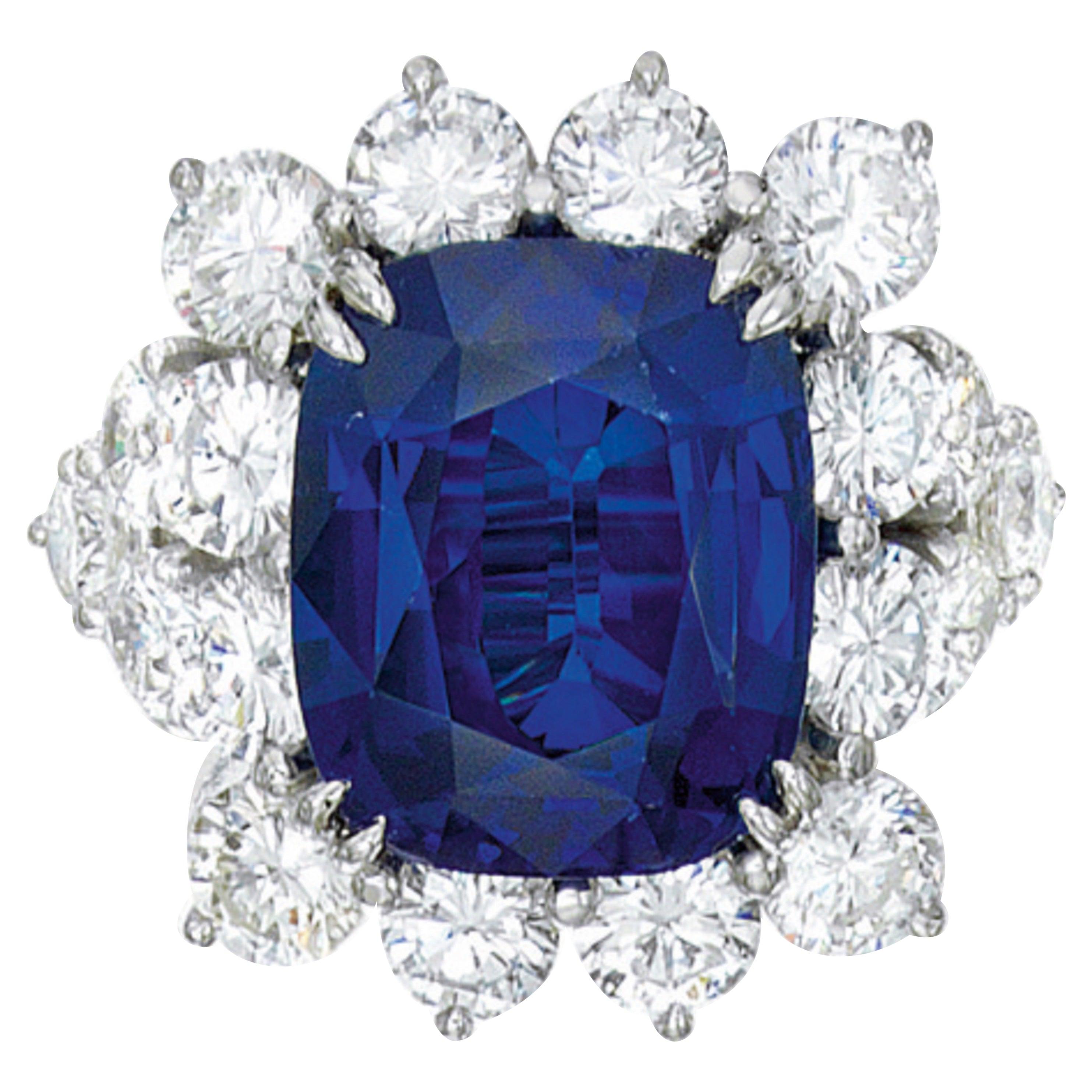 GIA Certified 3.50 Carat Ceylon Sapphire No Heat Diamond Cocktail Ring