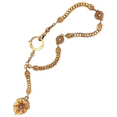 Antique 1875 French 18 Karat Red Gold Natural Pearl Locket and Watch Chain