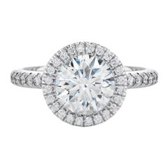 Flawless F Color GIA Certified Halo 2 Carat Round Brilliant Cut Diamond Ring