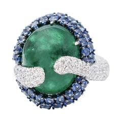 Emeralds,Sapphires,White Diamonds 18 Karat White Gold Cluster Ring