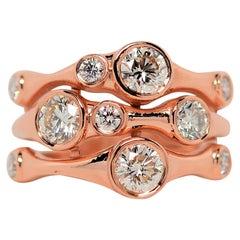 Diamond Bubble Ring Set in 14K Rose Gold, 1.38 Carats
