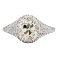 Edwardian Platinum 2.88 Ct Old Mine Cut Vintage Diamond Filigree Engagement Ring