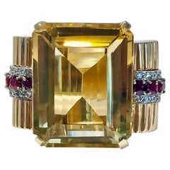 Huge Retro Period 14k Gold, Golden Citrine, Diamond and Natural Ruby Ring