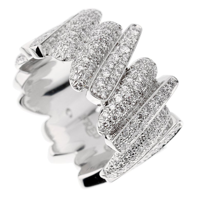 Fred of Paris Pave Diamond White Gold Ring For Sale