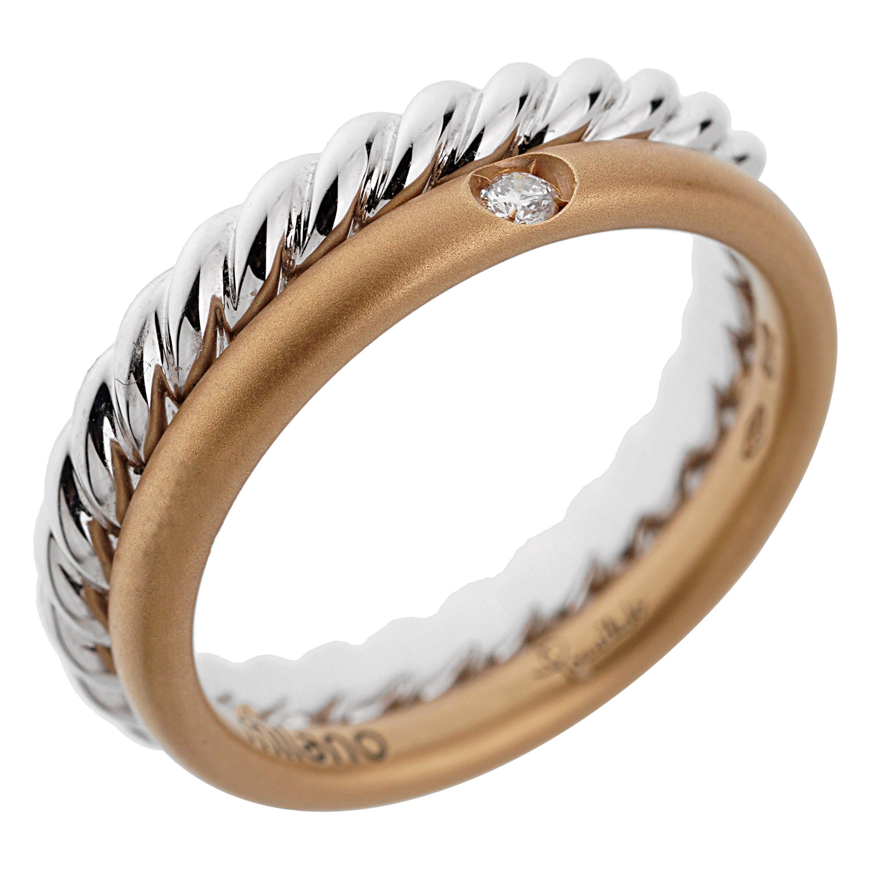 Pomellato Rose White Gold Diamond Stacking Band Ring