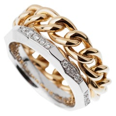 Pomellato Cuban Link Diamond Faceted Stacking Band Ring
