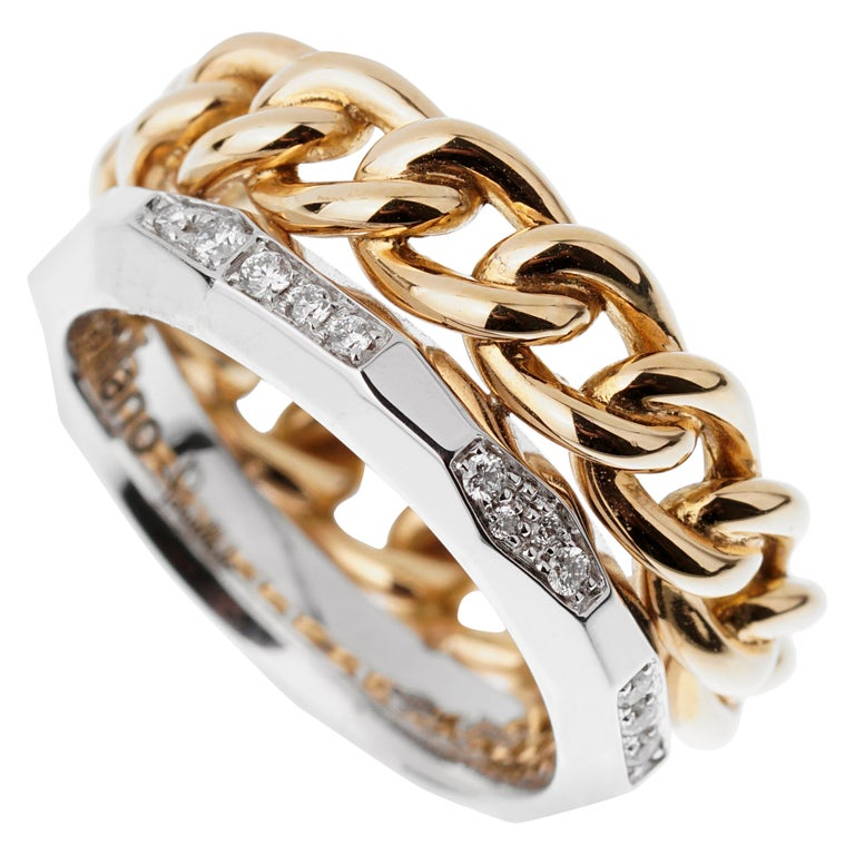 Pomellato Cuban Link Diamond Faceted Stacking Band Ring For Sale