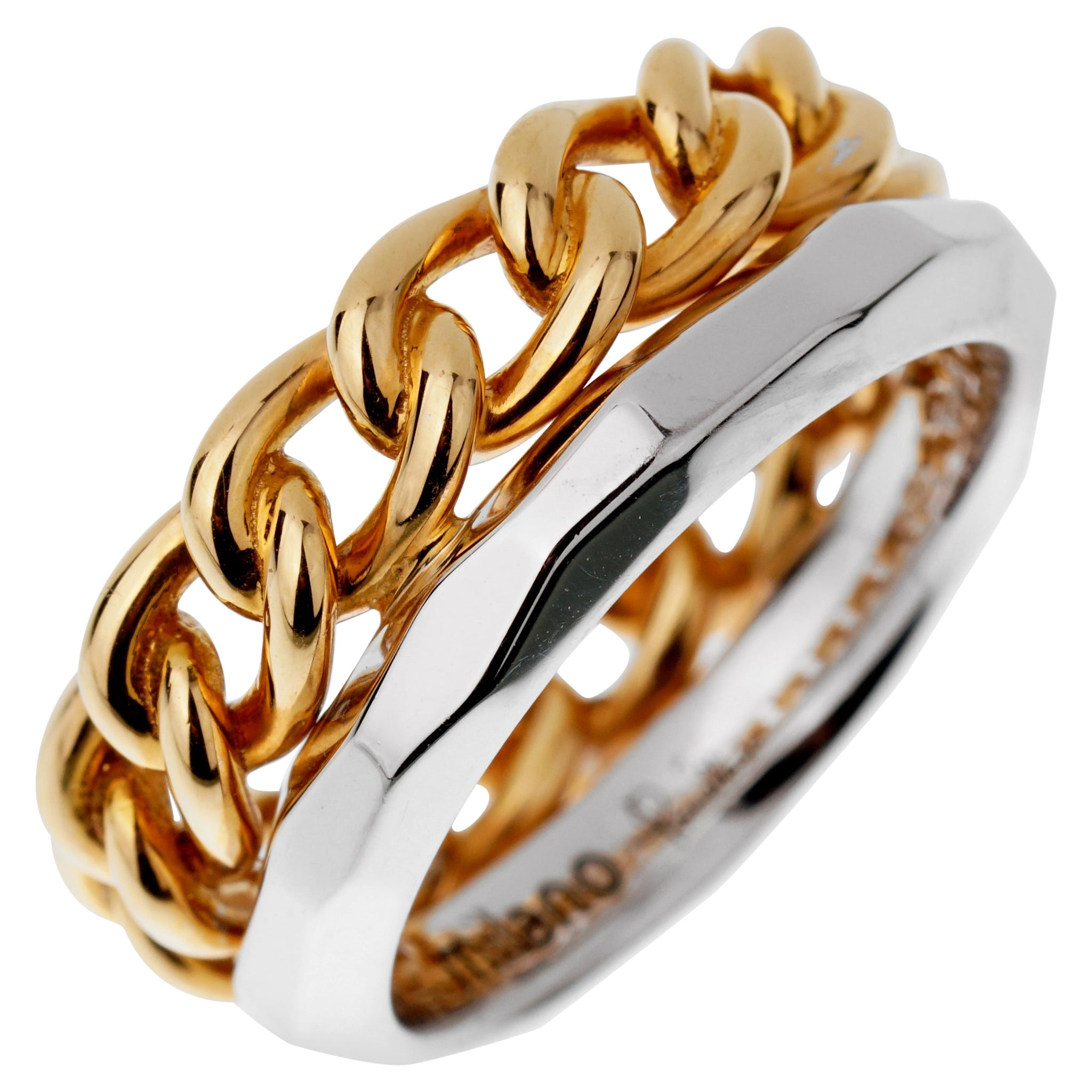 Pomellato Cuban Link Rose White Gold Double Band Ring